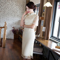 Chinese Traditional Dress Long Cheongsam Dresses Collar Stand-up Art Retro Vintage White Lace Woman Red Wedding Qipao Women