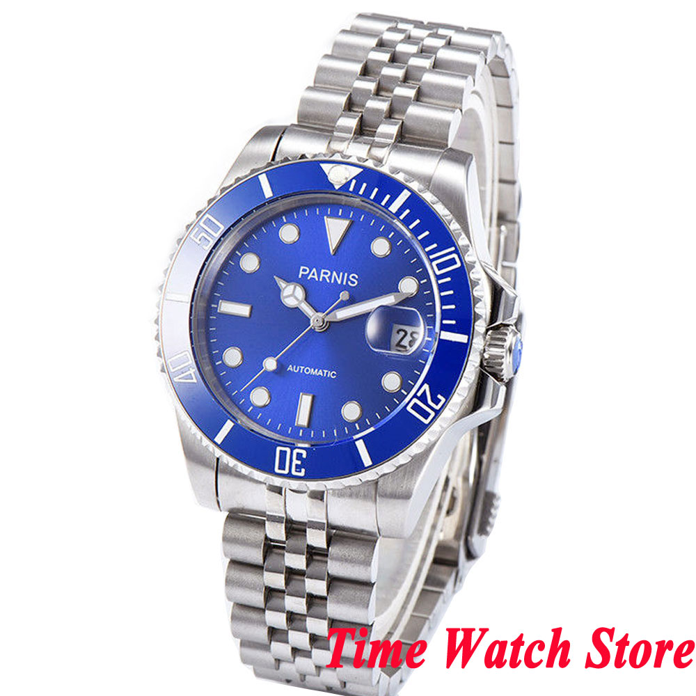 New 40mm parnis men's watch sapphire glass blue dial Bracelet luminous MIYOTA automatic movement wrist watch men 1072 цена