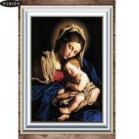 Pshiny 5d DIY Diamond Embroidery Virgin Mary Cross Stitch FULL Square Rhinestone Diamond Painting Religion Home