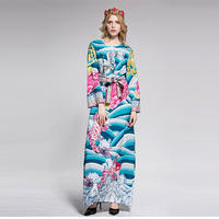 2018 High Quality Spring Print Loose Long Dress European Vintage Full Sleeve Floor-Length Maxi Dress With Sashes
