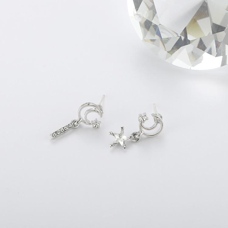 2019 New S925 Silver Needle South Korean Patek Star Moon Asymmetric Delicate Zircon Earrings Simple Personality Short Earrings in Stud Earrings from Jewelry Accessories