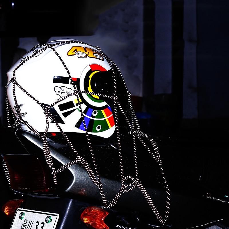 New 40 x 40cm Motorcycle Helmet Holder Heavy-Duty 6 hooks Hold down Mesh Net Bag Reflection Luggage Net Cargo Bungee Rope