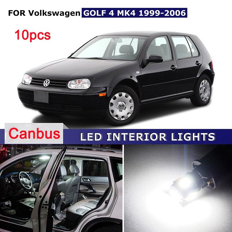 AUXITO 10x Бесплатная Белый ошибка canbus автомобиля СИД внутренний свет пакет комплект купол карта лампа для Фольксваген Гольф 4 МК4 1999-2006