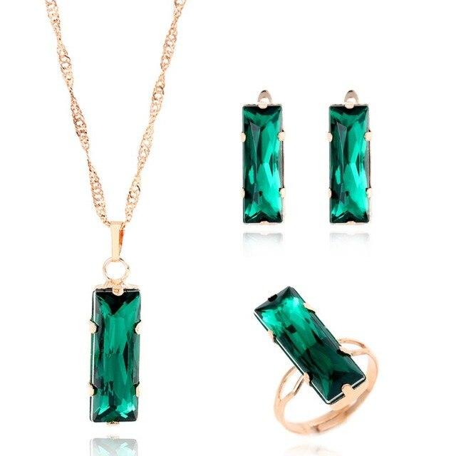 חדש נשים תכשיטי סט זהב צבע יפה קסם ירוק פנינה מלבן עגיל שרשרת טבעת 3 יחידות הצהרת תכשיטי סט עבור חתונה