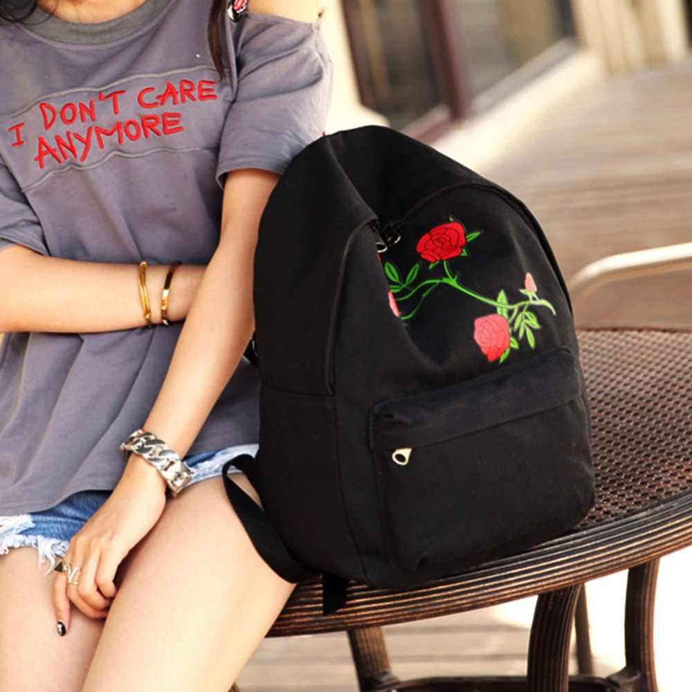 ... Women s Floral Rose Print Backpack Large Capacity Teenagers School Bag  Knapsack Travel Shoulder Bag Girls Women ... db06af267e99d