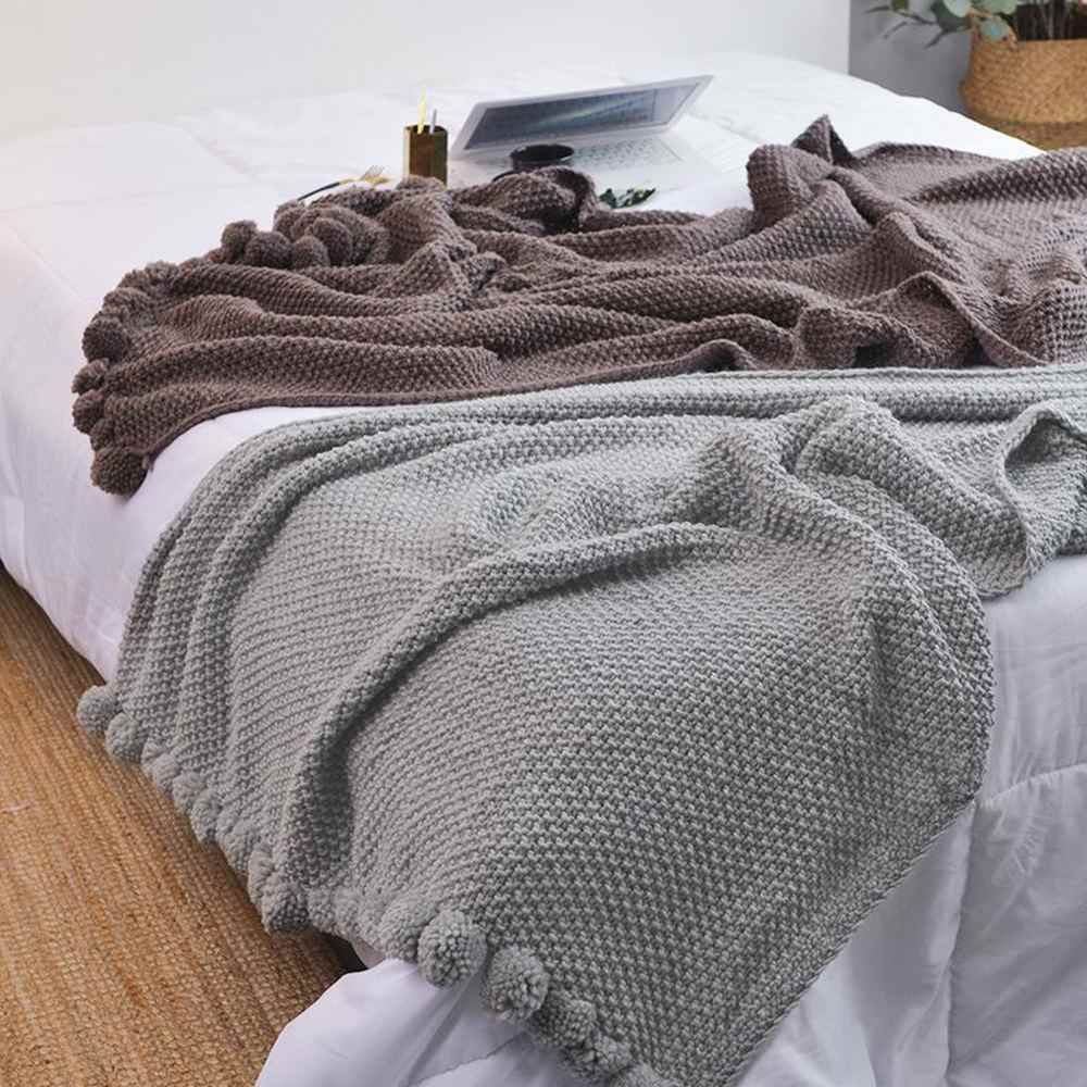 Reversible Pom Pom Knitted Throw Crochet Blanket Bed Sofa Cotton Rugs Home Decor