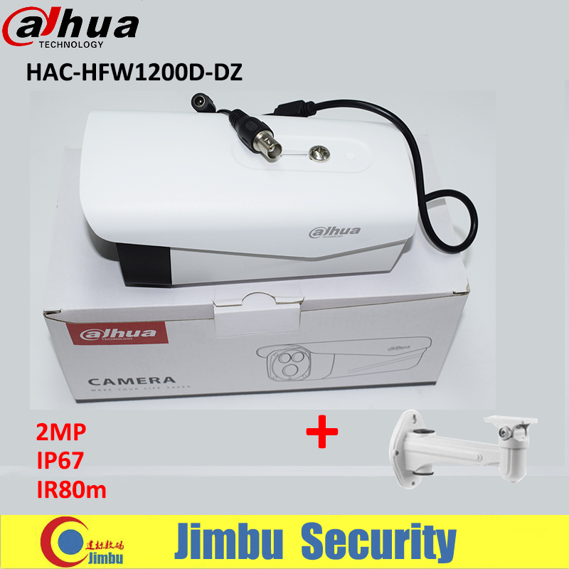 Dahua camera HDCVI HAC-HFW1200D-DZ 1080P 2MP CMOS IR 80M IP67 CCTV bullet camera with free bracket dahua hdcvi 1080p bullet camera 1 2 72megapixel cmos 1080p ir 80m ip67 hac hfw1200d security camera dh hac hfw1200d camera
