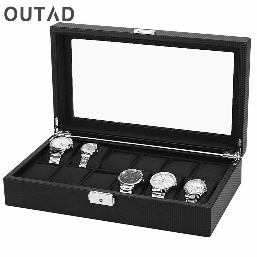 OUTAD 12 Grids Watch Case Watch Box ածխածնի սև մանրաթել Արտաքին սև PU կաշի ներսից բարձի պահեստավորման կազմակերպիչ Ձեռքի ժամացույցի կրող
