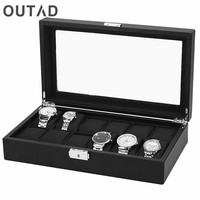 OUTAD 12 Grids Watch Case Watch Box Carbon Black Fiber Outer Black PU Leather Inside Pillow Storage Organizer Wristwatch Holder