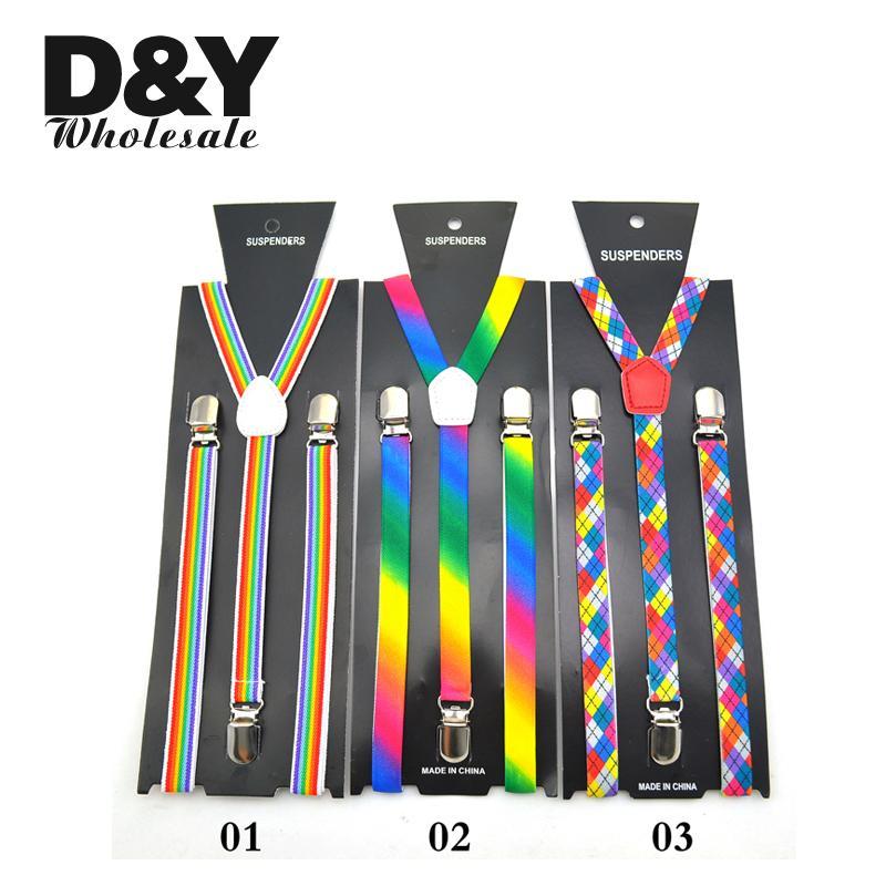 Women Men'S Shirt Suspenders For Trousers Pants Holder Clip-on Braces Elastic Slim 1.5cm Wide Rainbow Striped Mix Y-back Gullas