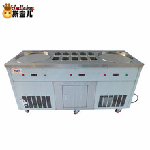 Stainless Steel Fried Ice Cream Machine Maker Hotel Commercial Yogurt Machine with 10 Barrels for Cake/bakery/drink/coffee Shop 48cm single round pan fried ice cream roll machine commercial fried milk yogurt machine ice cream maker nb100s