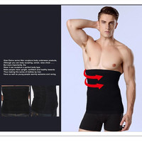 Man Taille Corset Afslanken Riem Afvallen Magic Body Shaper Ondergoed Tailleband Tummy Fat Burn Belly Taille Cincher Zwart Huid