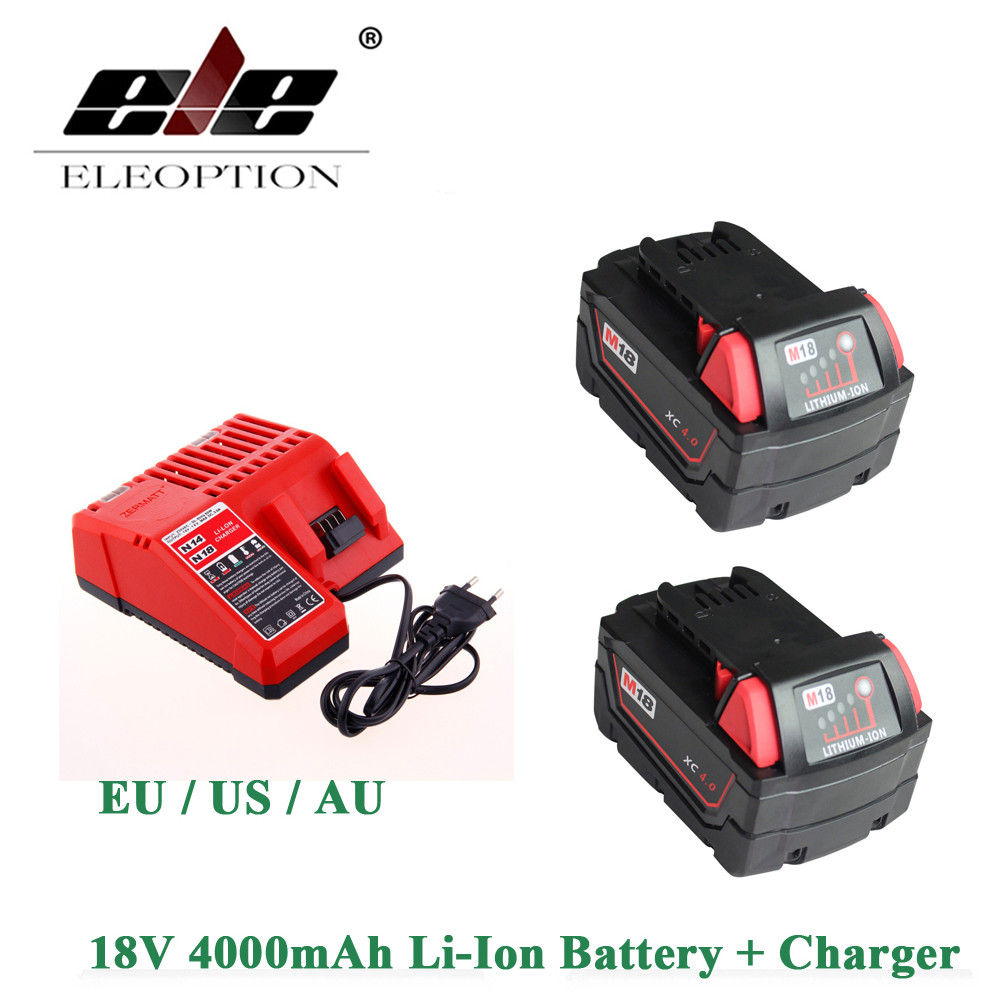 ELEOPTION 2PCS 18V Li-Ion 4000mAh Replacement Power Tool Batteries for Milwaukee M18 XC 48-11-1815 M18B2 M18B4 M18BX And charger eleoption 18v li ion 4000mah replacement power tool battery for milwaukee m18 xc 48 11 1815 m18b2 m18b4 m18bx li18 and charger