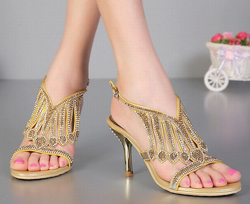 big size 34 44 women luxury tassel rhinestone wedges thick high heels  sandals gladiator crystal summer party wedding pumps shoes-in Women s  Sandals from ... 7f7e40a80d30
