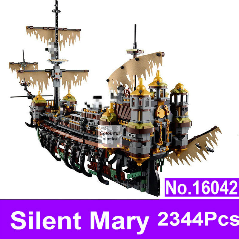 LEPIN 16042 2344Pcs Pirate of The Caribbean Ship Slient Mary Children Educational Building Blocks Bricks Compatible 71042 Toys kazi building blocks toy pirate ship the black pearl construction sets educational bricks toys for children compatible blocks
