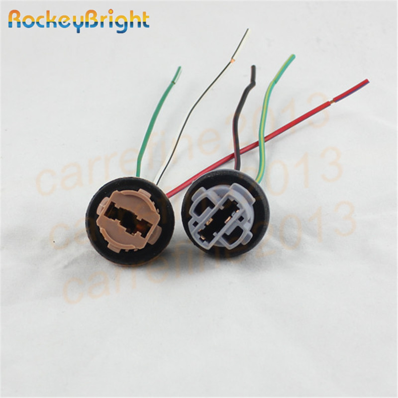 Rockeybright 7440 7443 Car Lamp Cable 7443 Bulb W21/5W LED Bulb Socket 7440 W21W Socket Turn Light LED T20 Lamp Holder Connector