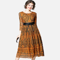 Fashion Lace Patchwork Women Vintage Robe 2018 New Sping Vestidos Mujer O Neck Caramel Color Hollow