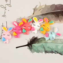 6pcs/lot Resin Love rabbit Decoration Crafts Kawaii Flatback Cabochon Embellishments For Scrapbooking DIY AccessoriesButto