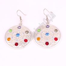 Hot Selling New Arrival flower of life seven chakra crystals symbol charm religious pendant Buddhist earring(China)