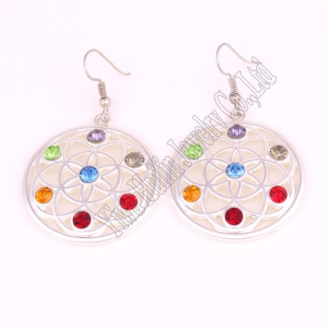 Hot Selling New Arrival flower of life seven chakra crystals symbol charm religious pendant Buddhist earring