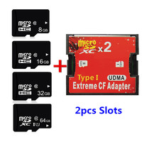 Newest!!! 8GB 16GB 32GB 64GB TF Card C10 Micro SD SDHC SDXC Card With 2 slots TF Card into CF Card Adapter High Speed For Camera