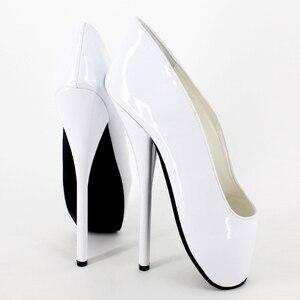 Image 4 - 女性女王バレエスパイクハイヒールスリップオンパテントレザーブーツセクシーなフェチ指摘パンプスダンスパーティー結婚式靴