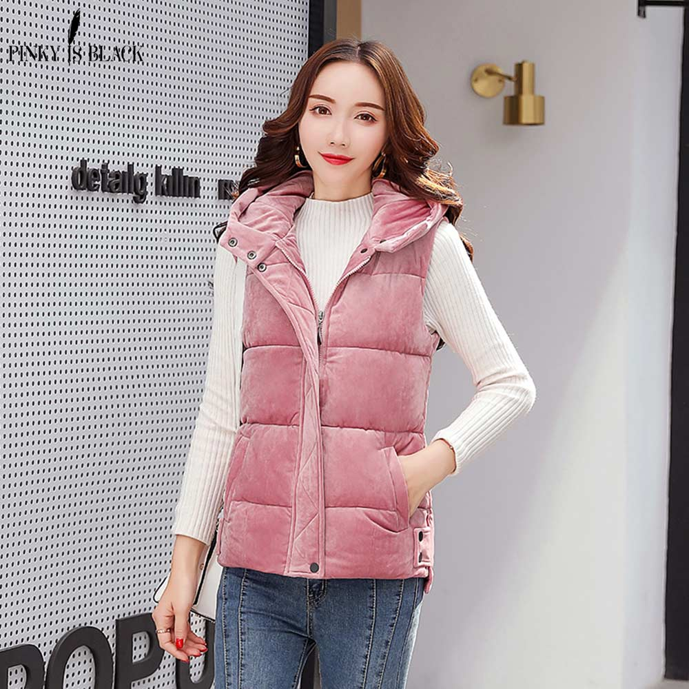 PinkyIsBlack Autumn Winter Women Vest 2018 Down Cotton Hooded Short Sleeveless Warm Vest Jacket Velvet Women Winter Waistcoat