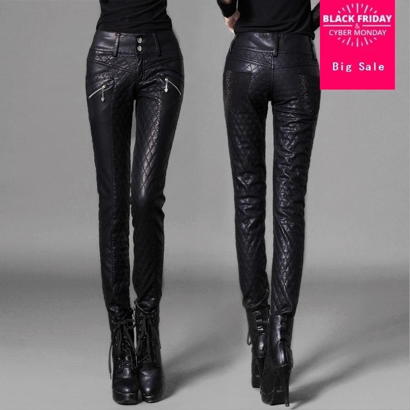 Женские модные брендовые повседневные брюки в клетку, узкие мотоциклетные облегающие брюки из искусственной кожи, утепленные Лоскутные ко...