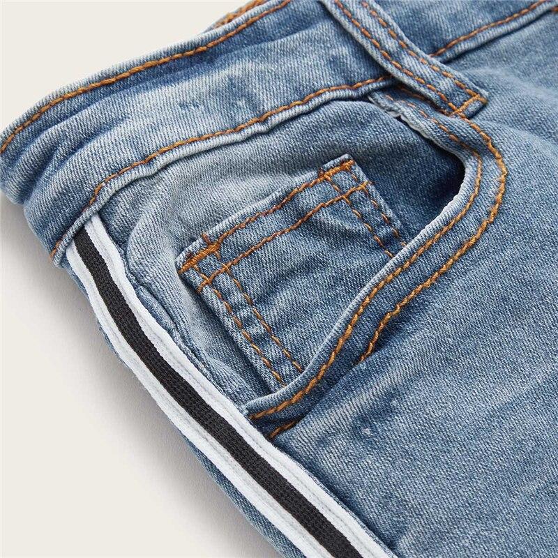 SweatyRocks Stripe Side Ripped Skinny Jeans Leisure Stretchy Long Denim Pants 19 Spring Women Streetwear Casual Blue Jeans 34
