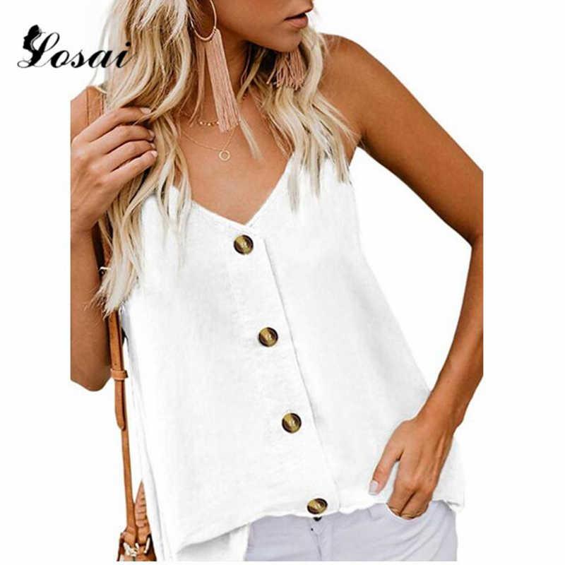 المرأة الأبيض بروتيل الرسن أكمام بلوزة برقبة على شكل حرف V زر أعلى أسفل السيدات عادية رقيقة سترة الصيف القمم حجم كبير ملابس الشارع الشهير
