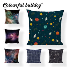 Wholesaler Starry Sky Space Astronaut Star Pillow Case Starry Sky Western Decor Home Outdoor Rock Chair 17*17Inch Cushion Cover(China)