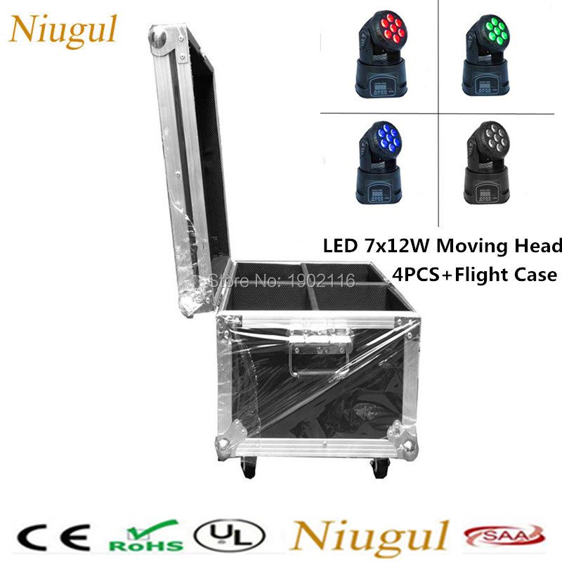 4pcs/lot with flight case professional 7x12w led wash moving head light disco dj lighting RGBW led Lamp DMX512 led stage lights 4pcs lot with flight casflightcase led wash mini moving head light 7x12w rgbw 4in1 led dmx controller dj disco light