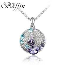 Модное круглое серебряное ожерелье с кристаллами от Swarovski ожерелье s кулоны женские милые стильные ювелирные изделия