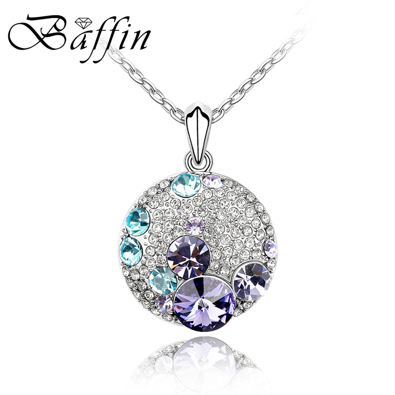 Fashion Round Silver Color Crystal Necklace Crystal from Swarovski Necklaces Pendants Women Cute Style Jewelry punk style cylinder hollow out round faux crystal solid color torques for women