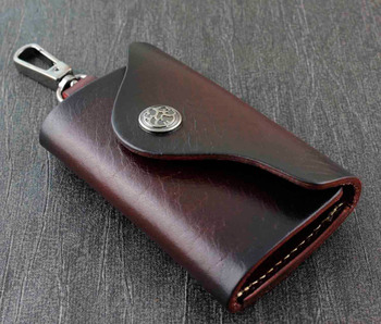 Genuine Leather Wallet Mens Womens Key Rings Holder Chain Wallet Case brown KW2
