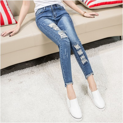 New Mid Waist Jeans Length Trousers elastic Skinny Jeans female pencil pants woman jeans women Slim Fashion Denim Blue hot sale skinny jeans woman spring new pencil jeans for women fashion slim blue jeans mid waist women s denim pants trousers