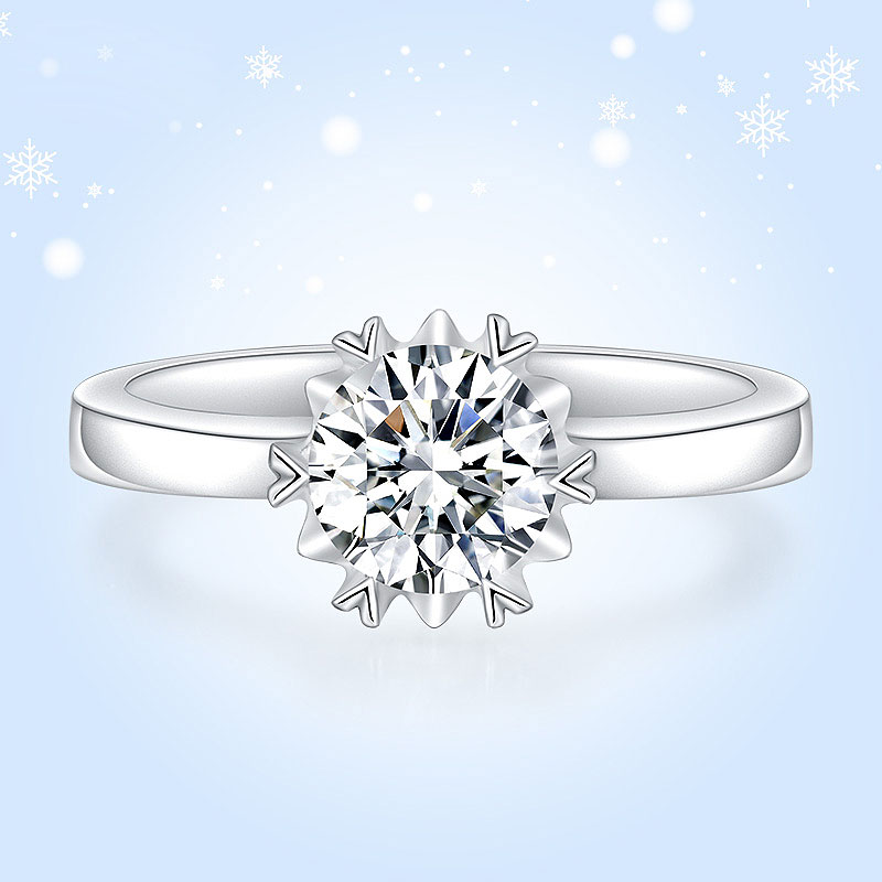 Solid 0.5ct 5mm 6 Prong Moissanite Solarite Ring 925 Real Sterling Silver Birthday Gift Lab Diamond Ring For Women