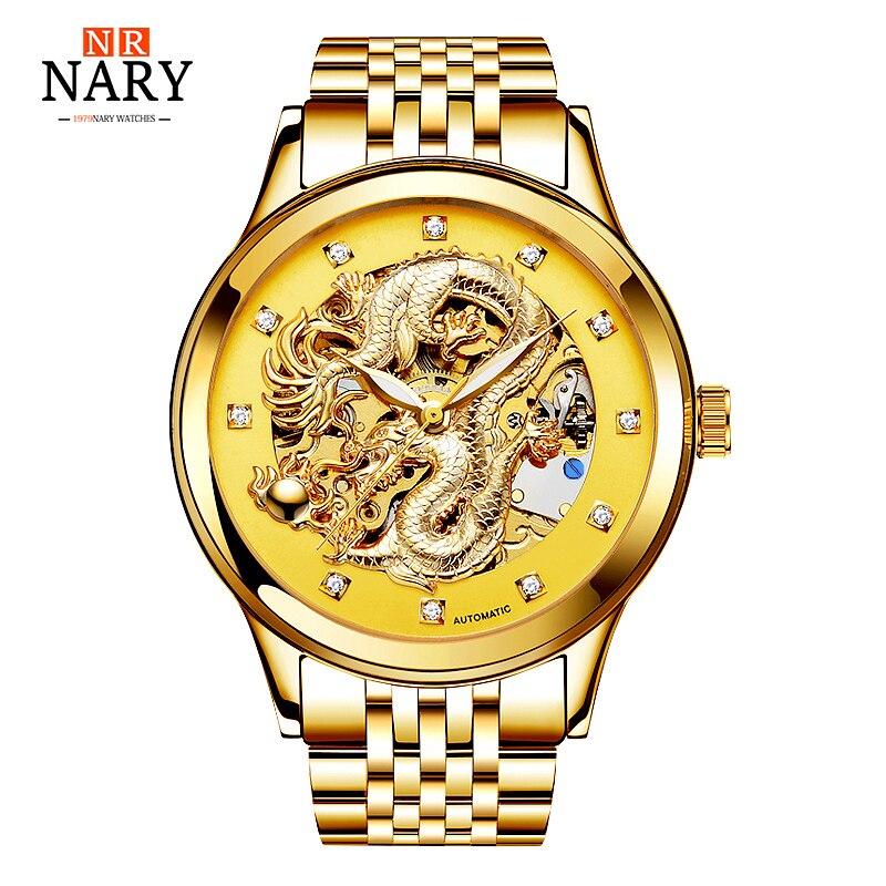 Anniversary Edition NARY Gold Watches Men 3D China Dragon Mechanical Skeleton Rhinestones watch men Wrist Watch Waterproof 50m