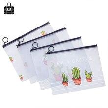 Купить с кэшбэком RoseDiary Cartoon Multi-action Transparent Matte Cosmetic Bag Lovely Cactus Ring Pocket Student Pencil Bag Stationery Bag Gifts