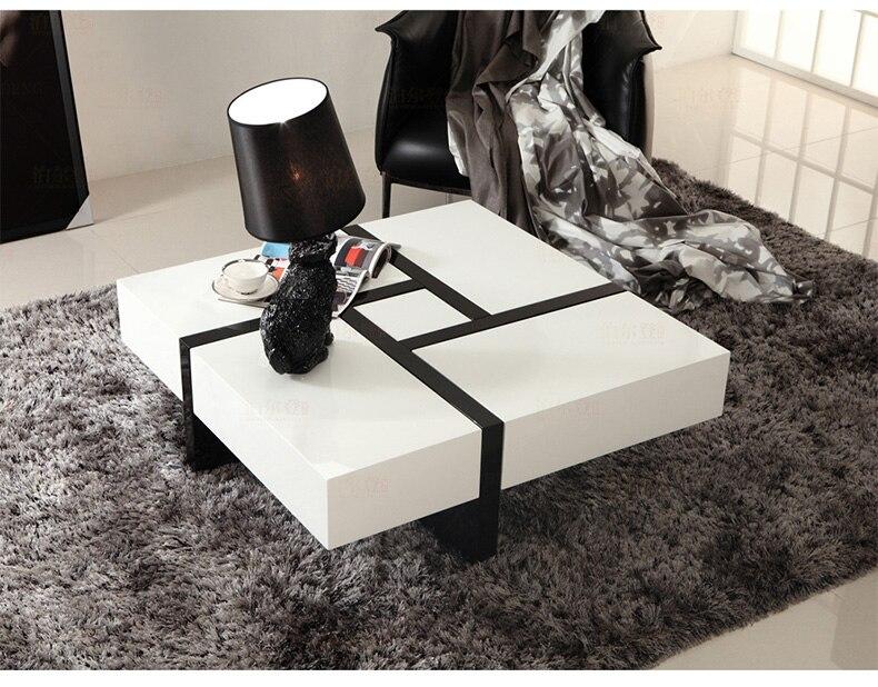 Panneau en bois naturel Table basse salon meubles de maison minimaliste moderne carré blanc brillant mesas de centro table basse