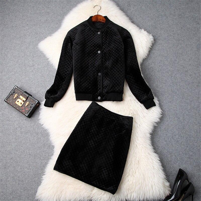 2018 Winter 2Piece Velour Suit Set Women s Fashion Designer Long Sleeve Solid Black Casual Jacket