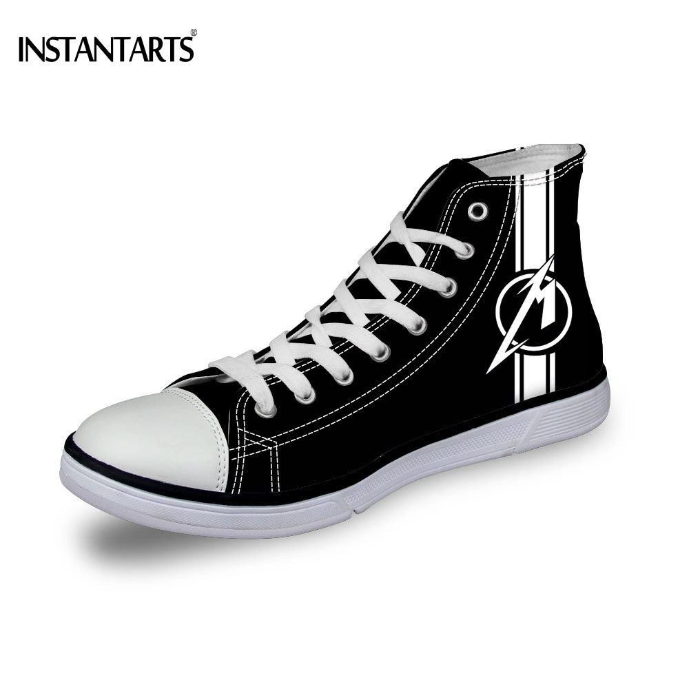 INSTANTARTS Casual Metallica 3D Printing Black High Top Canvas Shoes for Man Brand Male Summer/Autumn Vulcanized Lace Top Shoes slimming summer letters printing tank top for men