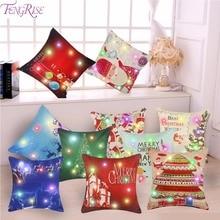 FENGRISE LED 45x45cm Christmas Decoration Pillow Case Tree Decorations Santa Claus for Home Xmas