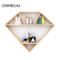 Children S Room Wall Hanging Decorative Storage Racks Nordic Wooden Diamond Shape Figurines Miniatures Display Shelves