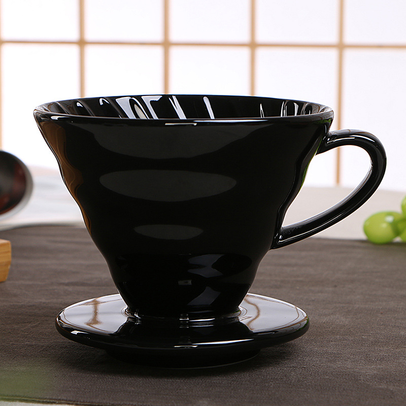 V60 Style Coffee Drip Filter Cup Permanent Pour Over Coffee Maker with Separate Stand Ceramic Coffee Dripper Engine