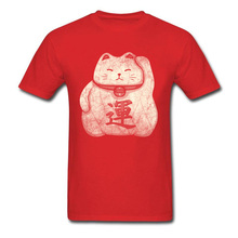 Lucky Cat T-shirt Men Gift Tshirt Grunge Art T Shirts New Years Day Fitted Mens Tops Summer Tees Crew Neck Pure Cotton Clothing