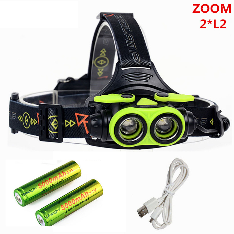 6000lm Zoom LED Headlamp USB Head Lamp Rechargeable XML 2L2 Headlight 18650 AA Head Light Running Camping Flashlight Torch