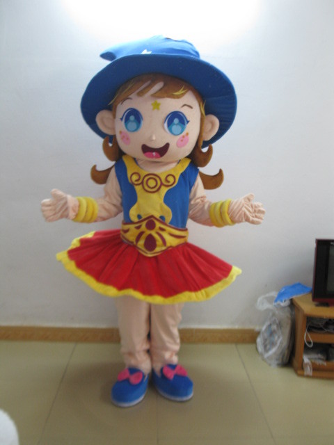 quality girls cartoon mascot costume plush mascot costume for Halloween party event