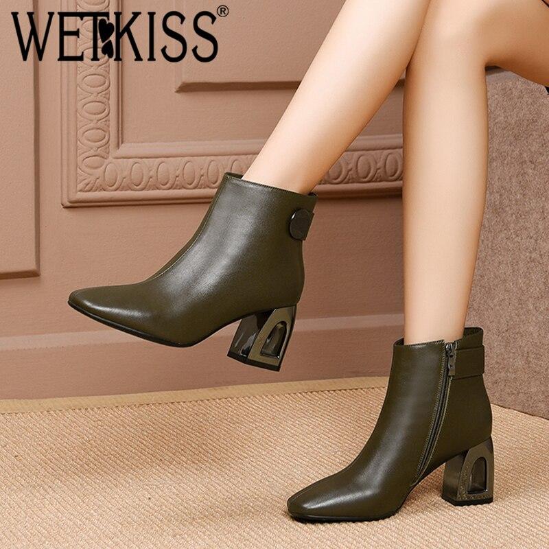 Bout Mode Chaussures D'hiver Wetkiss Zip Short Black green Plush Hauts Femelle Femme En Plush Talons Chaussons Cuir Fretwork Femmes Véritable Bottines Carré wqgAX6q