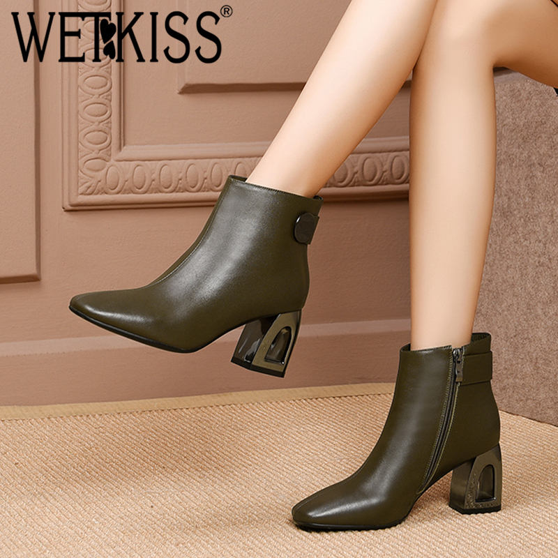 WETKISS 本革の女性のアンクルブーツスクエアトゥジップ靴透かし彫りハイヒールの女性のブーツファッション女性の靴の冬  グループ上の 靴 からの アンクルブーツ の中 1